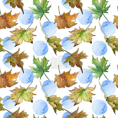 Photo for Maple leaves pattern in a watercolor style. Aquarelle leaf for background, texture, wrapper pattern, frame or border. - Royalty Free Image