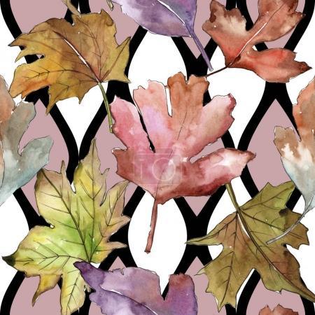 Photo pour Feuilles de motif d'aubépine dans un style aquarelle. Feuille Aquarelle pour fond, texture, motif d'emballage, cadre ou bordure . - image libre de droit