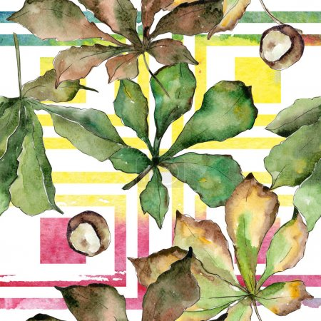 Photo for Chestnut leaves pattern in a watercolor style. Aquarelle leaf for background, texture, wrapper pattern, frame or border. - Royalty Free Image
