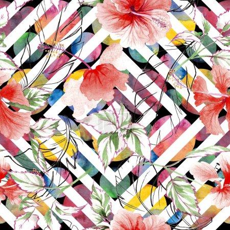 Photo pour Motif fleur rose sauvage dans un style aquarelle. Nom complet de la plante : rose, rosa, hulthemia. Aquarelle fleur sauvage pour fond, texture, motif enveloppant, cadre ou bordure . - image libre de droit
