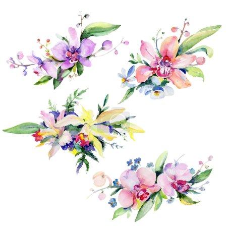 Photo pour Bouquet fleur dans un style aquarelle isolé. Nom complet de la plante : orchidée. Aquarelle fleur sauvage pour fond, texture, motif enveloppant, cadre ou bordure . - image libre de droit