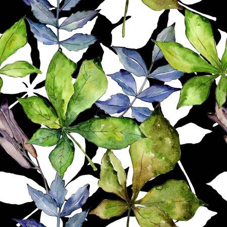 Photo pour Modèle de feuilles de châtaignier dans un style aquarelle. Feuille Aquarelle pour fond, texture, motif d'emballage, cadre ou bordure . - image libre de droit