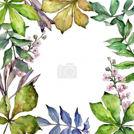 Photo pour Châtaignier laisse cadre dans un style aquarelle. Feuille Aquarelle pour fond, texture, motif d'emballage, cadre ou bordure . - image libre de droit