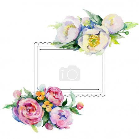 Photo for Bouquet flower frame in a watercolor style. Full name of the plant: rose, rosa. Aquarelle wild flower for background, texture, wrapper pattern, frame or border. - Royalty Free Image