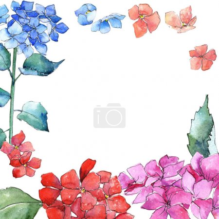 Wildflower hydrangea flower frame in a watercolor style.