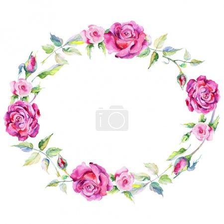 Wildflower rose flower wreath in a watercolor style.