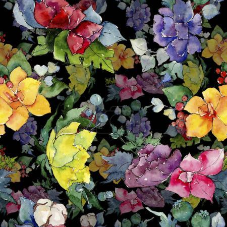 Photo pour Bouquet coloré. Fleur botanique florale. Feuille de printemps sauvage motif de fleurs sauvages. Aquarelle fleur sauvage pour fond, texture, motif d'emballage, cadre ou bordure . - image libre de droit