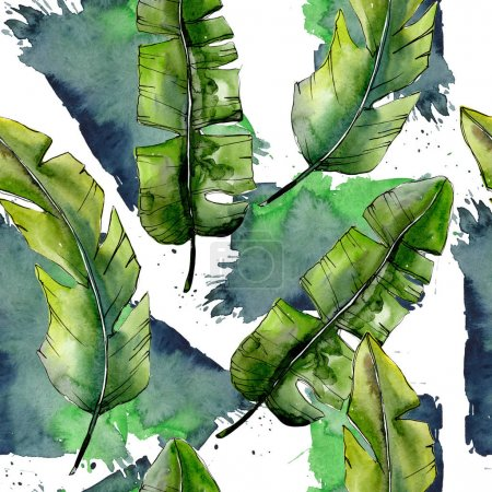Tropical green lesves  in a watercolor style pattern.