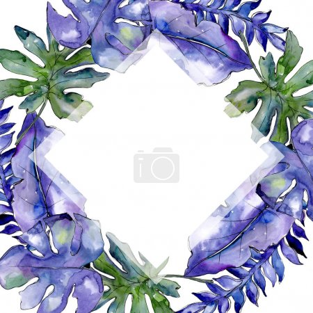 Blue tropical leaves in a watercolor style frame.