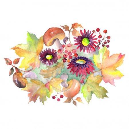 Photo pour Bouquet chrismas symbole isolé. Ensemble d'illustration de fond d'aquarelle. Aquarelle de mode de dessin d'aquarelle d'aquarelle d'aquarelle. Élément d'illustration de bouquet d'isolement. - image libre de droit