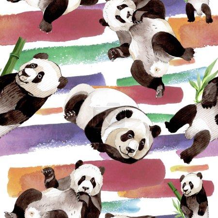 Exotic panda wild animal isolated. Watercolor background illustration set. Seamless background pattern.