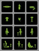 Ems training web icons set in flat style Electric muscular stim
