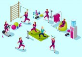 Isometric infographic ems fitness  studio with people doing elec