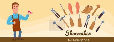 Shoemaker cartoon character banner or poster with cobbler tools