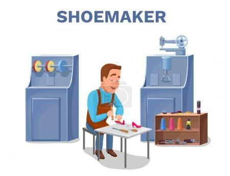 Cobbler cartoon character repairing shoes with shoemaker tools c