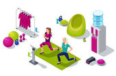 Isometric ems fitness studio with girl and personal trainer doing electrical muscular workout and sports equipment Vector illustration