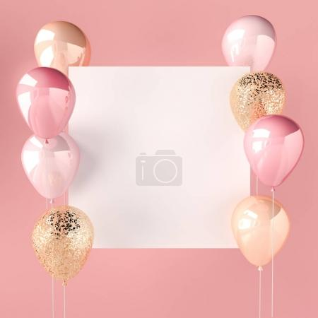 Photo for Pink color and golden balloons with sequins and white sticker. Pink background for social media. 3D render for birthday, party, wedding or promotion banners. Vibrant and realistic illustration. - Royalty Free Image