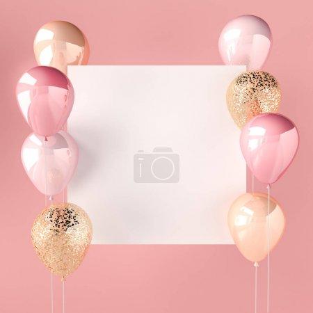 Photo pour Couleur rose et ballons dorés avec paillettes et autocollant blanc. Fond rose pour les médias sociaux. rendu 3D pour les bannières d'anniversaire, de fête, de mariage ou de promotion. Illustration vibrante et réaliste . - image libre de droit
