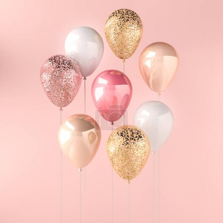 Photo for Set of pink, white and golden glossy balloons on the stick with sparkles on pink background. 3D render for birthday, party, wedding or promotion banners or posters. Vibrant and realistic illustration. - Royalty Free Image