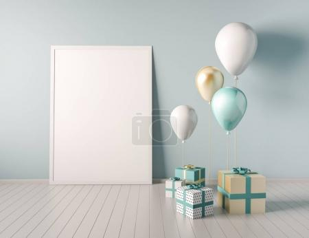 Interior mock up scene with blue and gold gift boxes and balloons. Realistic glossy 3d objects for birthday party or promo posters or banners. Empty space for poster size design element.