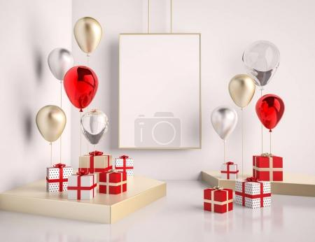 Interior mock up scene with red and gold gift boxes and balloons. Realistic glossy 3d objects for birthday party or promo posters or banners. Empty space for poster size design element.