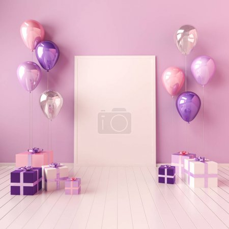 3D interior mock up illustration with violet and pink balloons and gift boxes. Glossy composition with poster size empty space for birthday, party or other promotion social media banners.