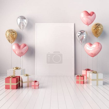 3D interior mock up illustration with golden and pink heart balloons and gift boxes. Glossy composition with poster size empty space for wedding, party or other promotion social media banners.