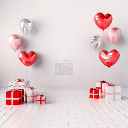3D interior illustration with pink and red heart balloons and gift boxes. Glossy composition with empty space for wedding, party or other promotion social media banners.