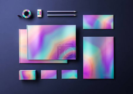 Holographic metallic mock up for business identity.