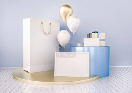 Set of paper bags, frame for certificate, with balloons.