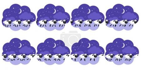 Illustration for Vector illustration of counting sheep trotting in the night background in a dream bubble animation sprite - Royalty Free Image