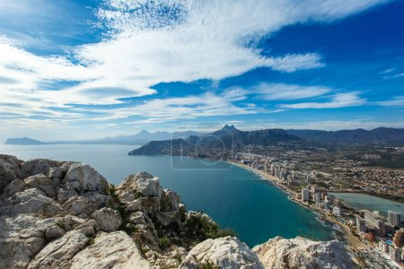 Looking over Calp city and the coast at Altea in Spain from Penon de Ifach mountain