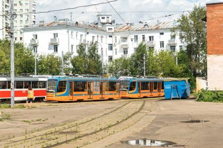 MOSCOW, RUSSIA - august 05: Several trams of different generations in Moscow's tram depot