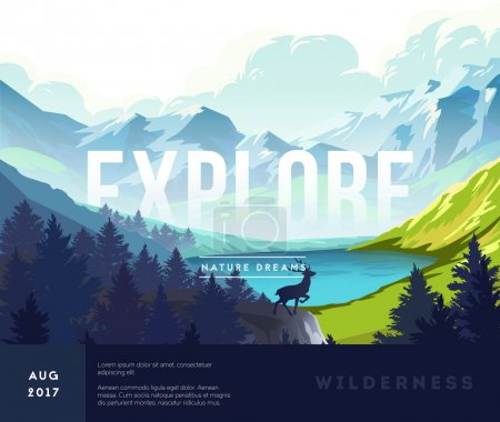 Illustration for Nature landscape background with silhouettes of mountains and trees. Vector Illustration - Royalty Free Image