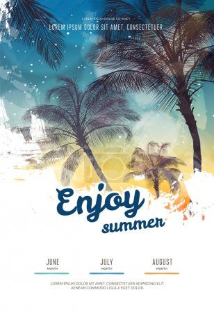 Illustration for Summer party poster template with palm trees, vector illustration - Royalty Free Image