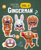 Set of christmas stickers with expressive gingerbread man cookies