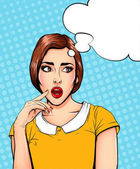 Pop Art Vintage advertising poster comic girl with speech bubble Confused thinking pretty girl