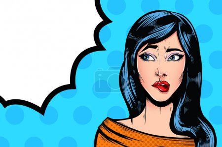 Illustration for Pop Art Vintage advertising poster comic girl with speech bubble. Confused thinking pretty girl vector illustration - Royalty Free Image