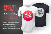 Men's white and black t-shirt with short sleeve mockup Front view