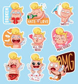 Color set of cupids for Valentine's Day Funny stickers with different emotions Vector illustration