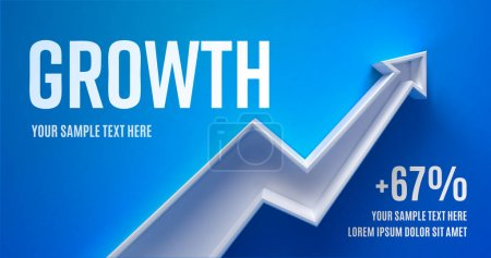 Business presentation layout with 3d arrow growth on a green background with shadow.