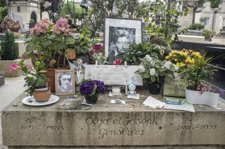Grave of Serge Gainsbourg in Montparnasse cemetery, Paris.