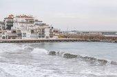 Village view, mediterrean sea, Roc Sant Gaieta, Roda de Bera, Costa Daurada, province Tarragona, Catalonia.