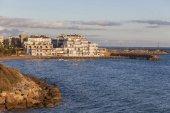 View of front maritime of catalan village Roda de Bera, Roc Sant Gaieta, Costa Daurada,province Tarragona,Catalonia, Spain.