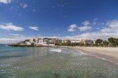 Mediterranean beach in Roda de Bera, Roc Sant Gaieta, Costa Daurada, province Tarragona, Catalonia.