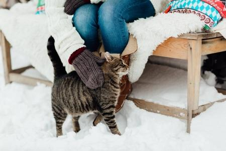 woman and cat in winter