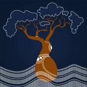 Boab (Baobab) Tree Vector Painting Aboriginal dot art vector background