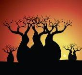 Boab (Baobab) Tree Vector Painting Aboriginal art vector background