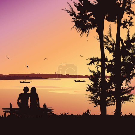 Illustration for Couple sitting on the bench at sunset, Silhouette vector background - Royalty Free Image