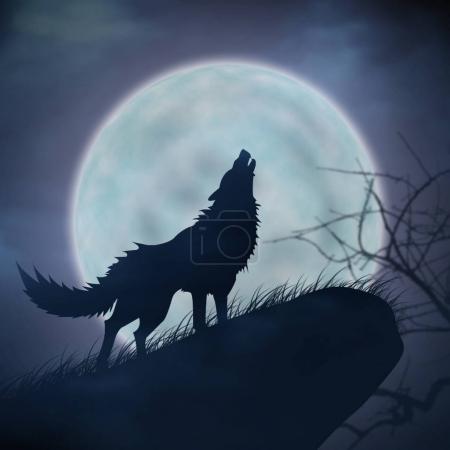 Photo pour Hurlement de loups et de la pleine lune - image libre de droit